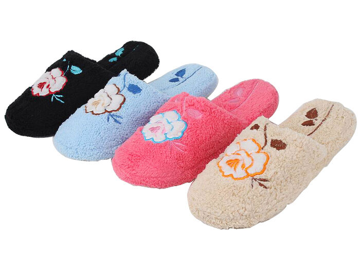 New Women's Microterry Spa Slide House Rose Slippers Accented With Embroidered Rose House bca702