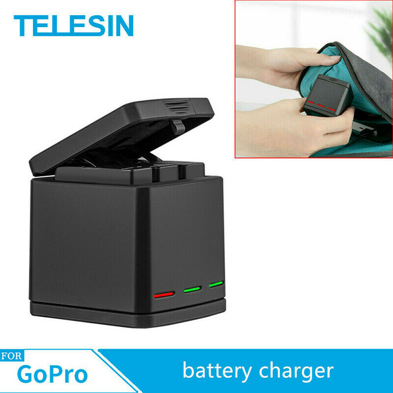 For Gopro Hero 8 7 6 5 TELESIN 3 Slots Charging Box Battery Charger Storage