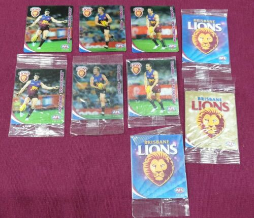 AFL BRISBANE LIONS FOOTBALL CARDS 3D SEALED PACKETS & OPEN DOUBLES LOT OF 9