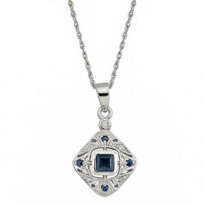 1199e983e92c 10k White Gold Vintage Style Sapphire and Diamond Pendant Necklace ...