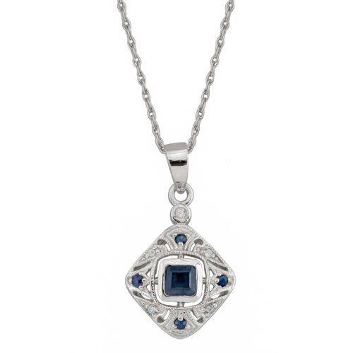 10k White Gold Vintage Style Sapphire and Diamond Pendant Necklace