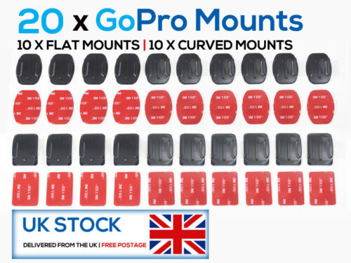 10x Flat /& 10x Curved 4 20 X GoPro Mounts 3M Adhesive  HD Hero 1 2 3