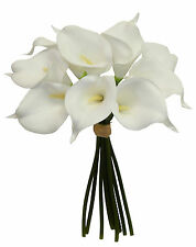 9 White Calla Lily Bouquet ~ Real Touch Latex Silk Wedding Flowers Centerpieces