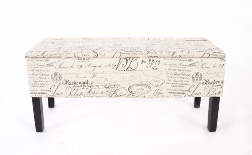 Banque banc coffre de rangement renens textile 95x36x44 CM inscription Crème