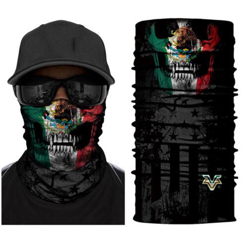 5x Multi-Purpose Bandana Tube Camo Skull Mexico Flag Face Mask Neck Shield Snood