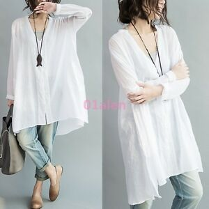 600e1d32824 Women Cotton Linen Shirt Tops V Neck Long Sleeve Loose Baggy Blouse ...