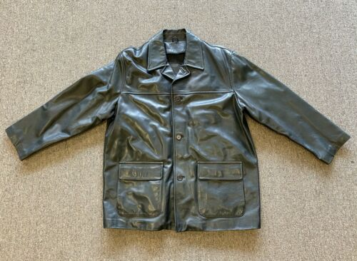 Coach Men's Black Leather Coat Jacket Size XL