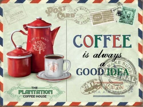 Coffee Beans Vintage Postcard Kitchen Cafe Shop Drink Medium Metal Steel Sign