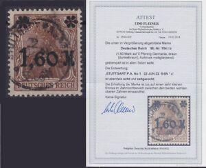 DR-Mi-Nr-154Ib-mit-Fotoattest-Fleiner-BPP-gest-Stuttgart-1922-Germania