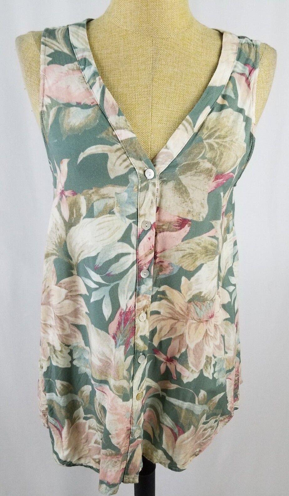 Show Me Your MuMu Tropical Floral Sleeveless Green Pink Medium Top Shirt
