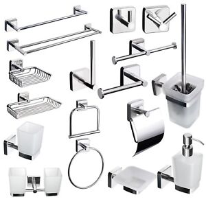 Square Style Bathroom Accessories Set Stainless Steel Self Adhesive
