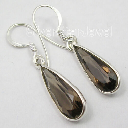 """925 Solid Sterling Silver Smoky Quartz Antique Style Earrings 1.4/"""" 2.3 Grams"""