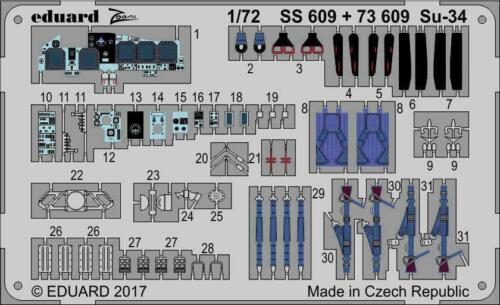 Eduard 1//72 Photoetched Su-34 for Trumpeter kit 73609