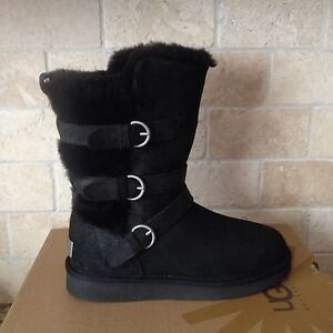 8912db243cd Details about UGG Becket Black Water-resistant Leather Sheepskin Buckle  Short Boots 6 Womens