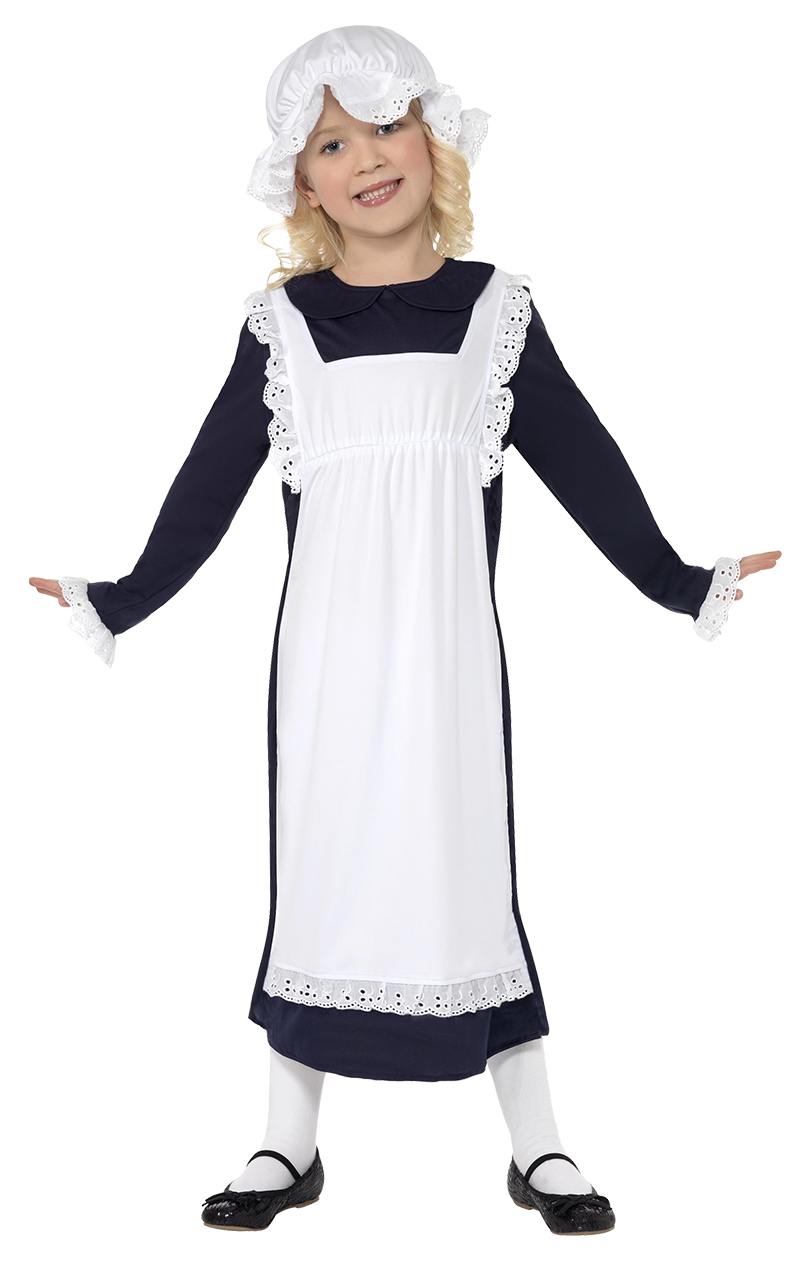 Girls Age 4-12 Years Victorian Maid Poor Cleaner Cinderella Fancy Dress Costume