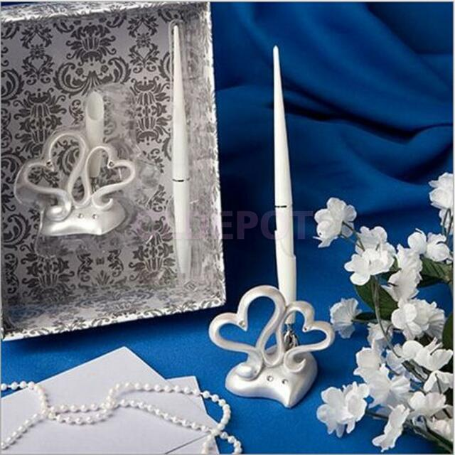 "6.5"" Diamante Double Hearts Pen Wedding Guest Book Signing Resgister Pen Set"