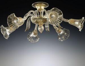 Plafoniere In Vetro Di Murano Prezzi : Plafoniera luci in vetro di murano graniglia ambra e metallo oro
