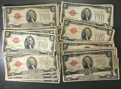 ✯1928-1963 Two Dollar Note Red Seal ✯$2 Bill G-AU✯Old Paper Estate Lot Currency✯
