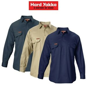 Mens-Hard-Yakka-Cotton-Drill-Long-Sleeve-Closed-Front-Shirt-Safety-Work-Y07530