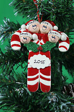 PERSONALISED CHRISTMAS TREE DECORATION ORNAMENT CANDY CANE FAMILY OF 4