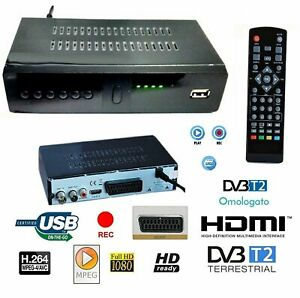 DECODER RICEVITORE DIGITALE TERRESTRE DVB-T2 TV SCART HDMI 1080P
