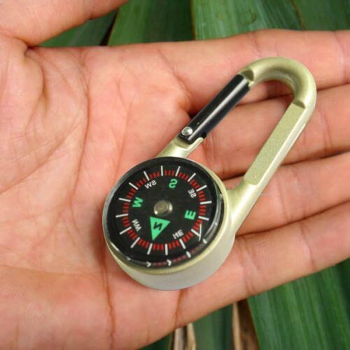 Pocket Hiking Compass Thermometer Carabiner Key Ring Survival Climbing Camping
