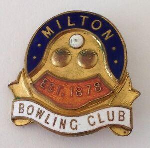 Milton-Bowling-Club-Badge-Pin-New-Zealand-Est-1878-Rare-Vintage-M21