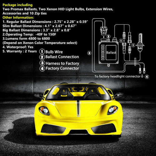 Promax 55W Xenon Lights HID Conversion Kit H1 9005 H11 for 2002-2006 Acura RSX