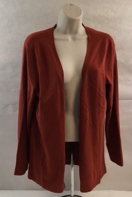 Chico's Rust Color Cardigan Open Front Women's Sweater Size 2 ...