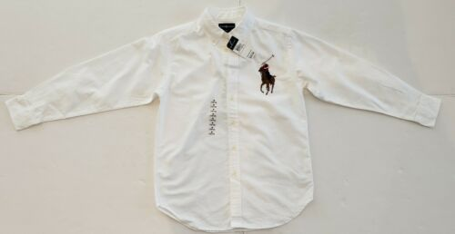 NWT POLO RALPH LAUREN BOYS OXFORD SHIRT WHITE M 10//12 #107