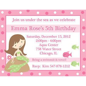 Image Is Loading 20 Personalized Birthday Invitations Mermaid