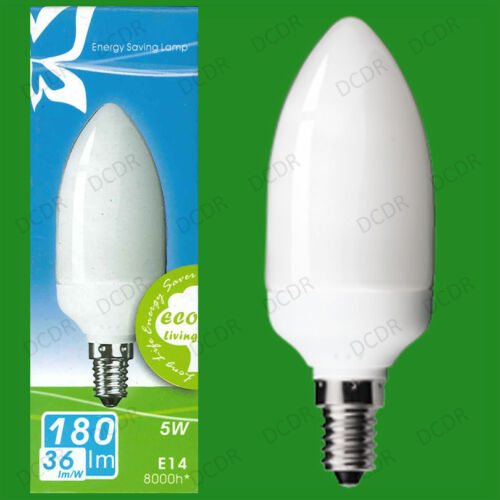 2x 5W Low Energy Power Saving CFL Candle Light Bulbs SES E14 Small Screw Lamps