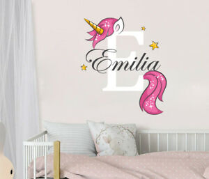 Details About Unicorn Name Wall Decal Monogram Full Color Nursery Decor Vinyl Sticker Sd63
