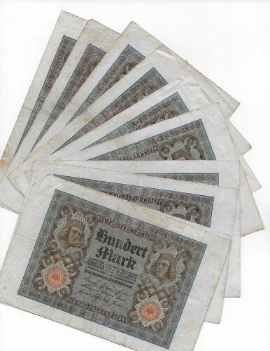 VF Lot of 10 Germany 1920 100 Marks Pick 69-B