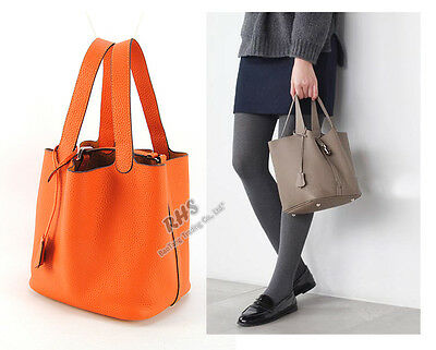 Women Real Leather Tote Bag Shopper Lunch Bucket Handbag Purse Shopping Basket