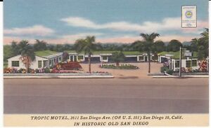 San-Diego-CA-034-The-Tropic-Motel-034-Linen-Postcard-California-FREE-US-SHIP