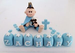 EDIBLE PRINCE TEDDY CHRISTENING CAKE TOPPER DECORATION ...