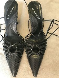 Womens-Nine-West-Charcoal-Snakeskin-Embossed-Leather-Stilettos-Size-10