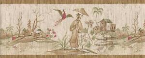 Wallpaper-Border-Asian-Oriental-Scenic-Toile-Tan-Beige-Green-Red
