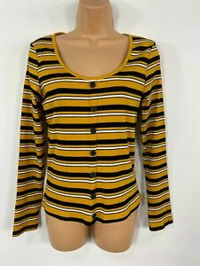 WOMENS-NEW-LOOK-YELLOW-STRIPED-RIBBED-BUTTON-DETAIL-CASUAL-LONG-SLEEVE-TOP-UK-14
