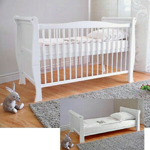 Wooden Baby Cot Bed & Deluxe Aloe Vera Mattress Converts to Junior Bed