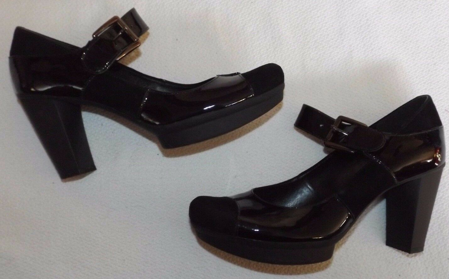 CLARKS UK 6 EUR 39 BLACK PATENT LEATHER & BLOCK SUEDE MARY JANE 3¼