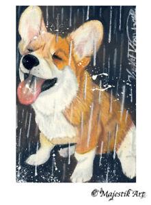 "English Bull terrier Dog Animal ACEO Print /""Summer/"" By V Kenworthy"