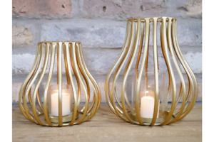 Metal-Votive-Candle-Holder-Gold-Hurricane-Lantern-Style-Large