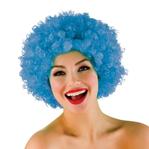 Pale Blue Afro Wig Clown Circus Funky Afro Wig Fancy Dress Accessory