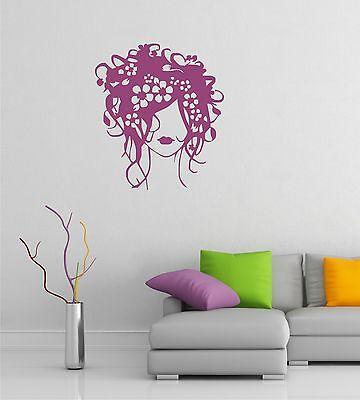 Flower Hair Girl Wall Art Sticker Decal Salon Wall art