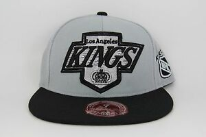80838a2f9ff Los Angeles LA Kings Mitchell   Ness Grey Black Fitted Hat Cap NHL ...
