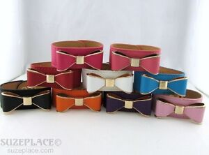NEW-RUSTIC-WIDE-BOW-CUFF-BRACELET-SOFT-LEATHER-PINK-BLACK-BLUE-WHITE-RED