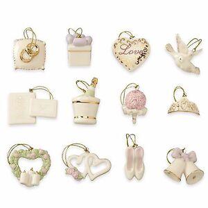 lenox wedding miniature tree ornaments set of 12 bridal dove heart