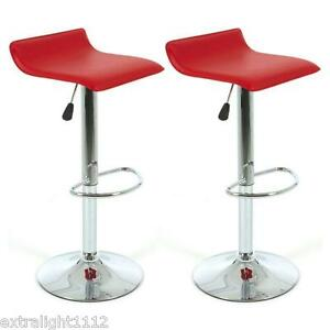 2x-Sense-PU-leather-Bar-stool-Kitchen-Chair-Red-Color-postage-free